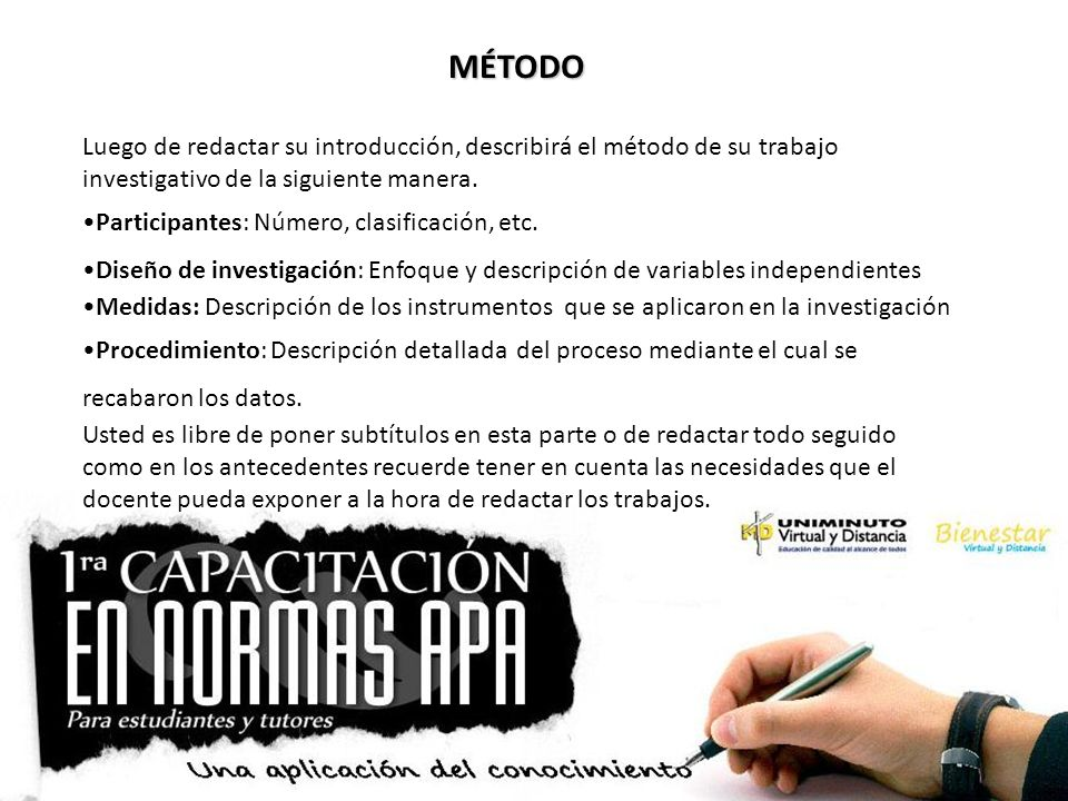 MÉTODO Luego de redactar su introducción, describirá el método de su trabajo investigativo de la siguiente manera.