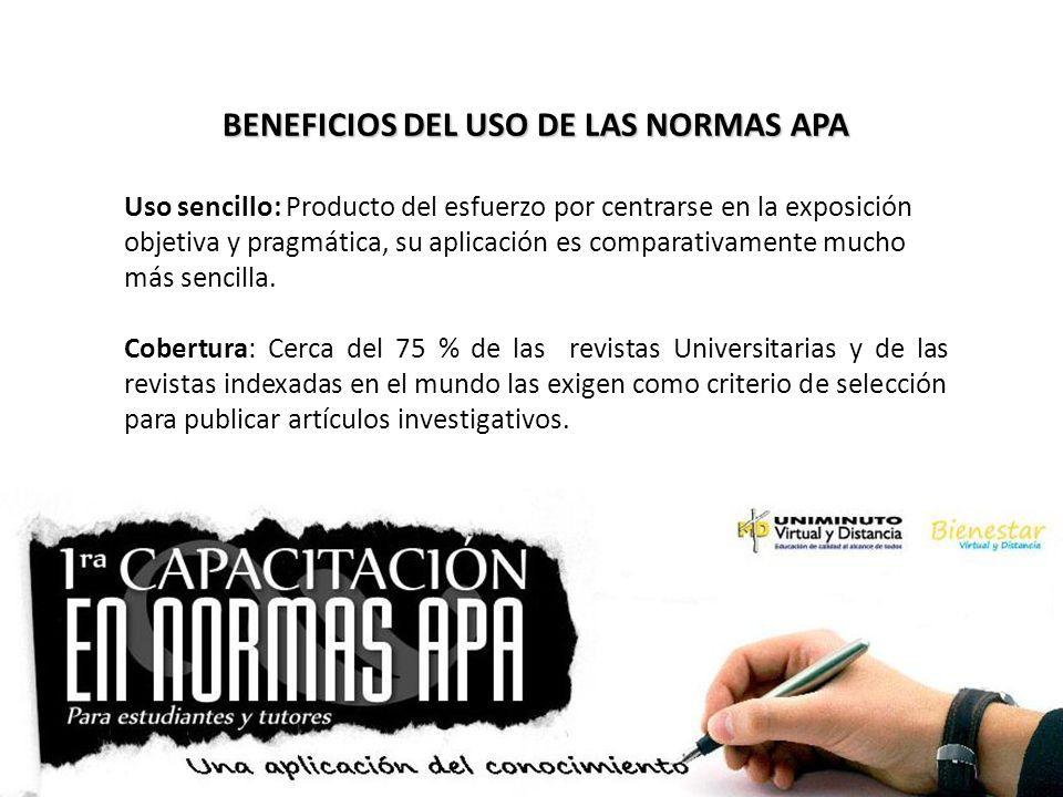 BENEFICIOS DEL USO DE LAS NORMAS APA