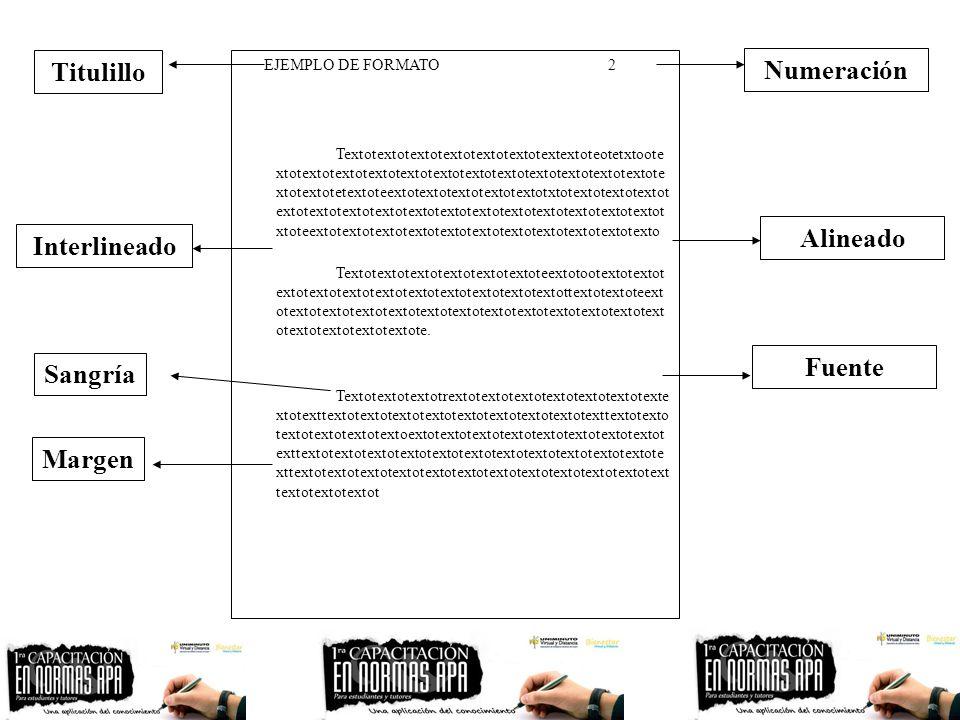 Titulillo Numeración Alineado Interlineado Fuente Sangría Margen