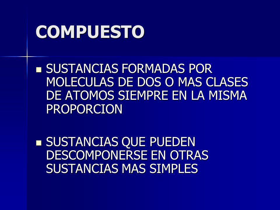 COMPUESTO SUSTANCIAS FORMADAS POR MOLECULAS DE DOS O MAS CLASES DE ATOMOS SIEMPRE EN LA MISMA PROPORCION.