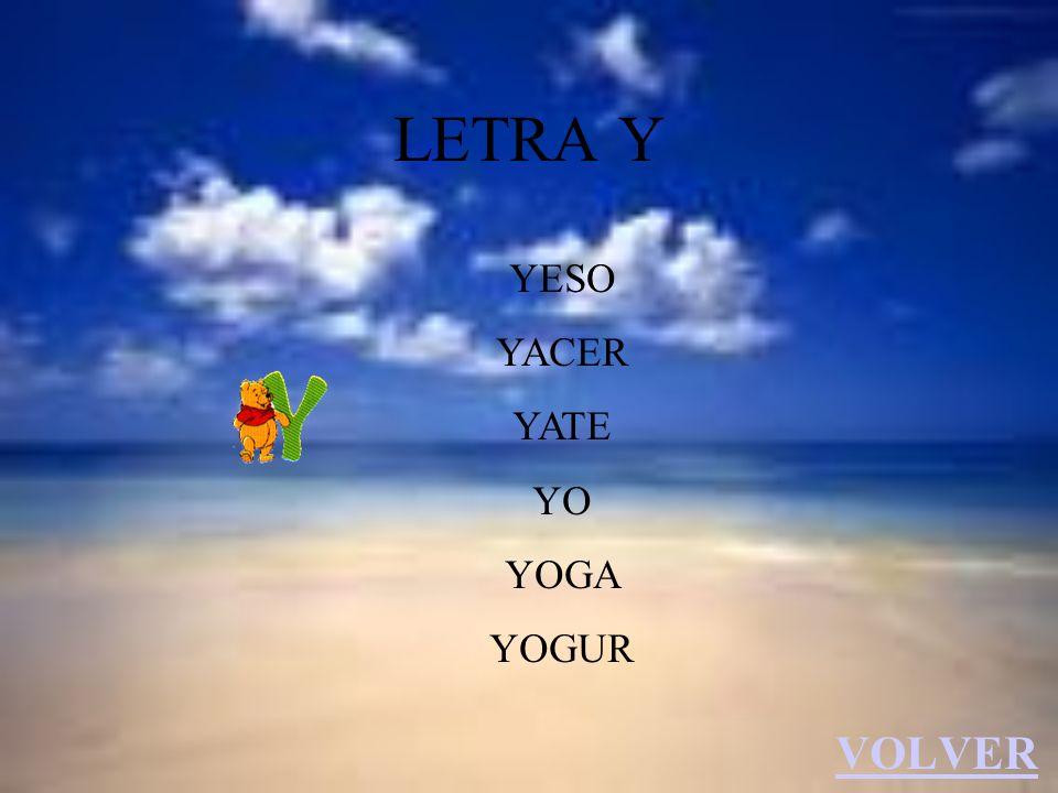 LETRA Y YESO YACER YATE YO YOGA YOGUR VOLVER