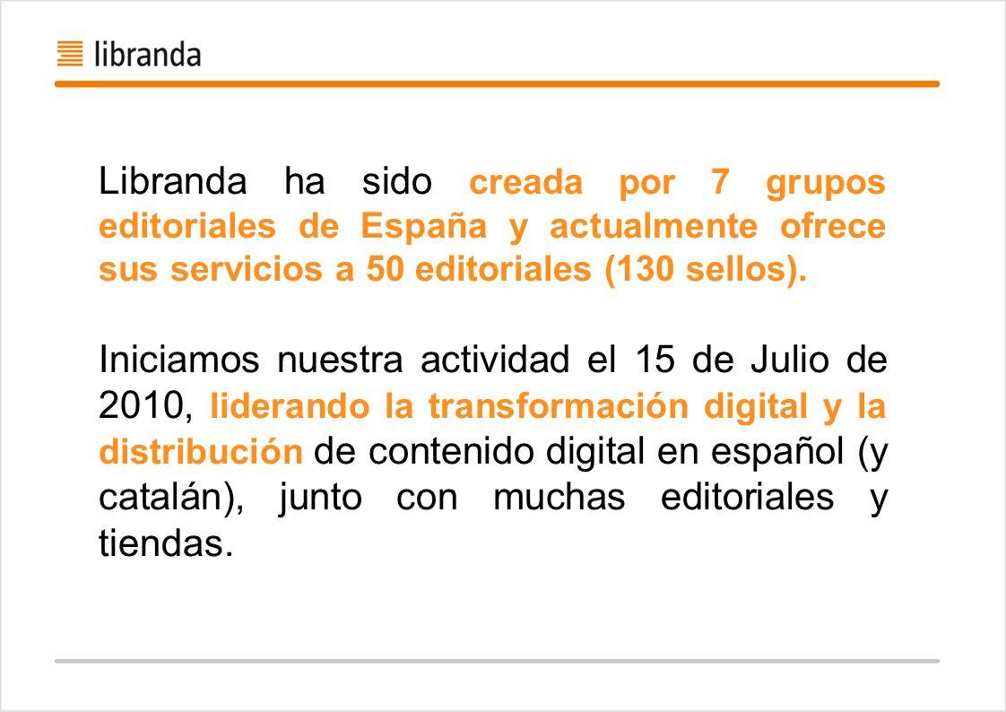Libranda ha sido creada por 7 grupos editoriales de España y actualmente ofrece sus servicios a 50 editoriales (130 sellos).