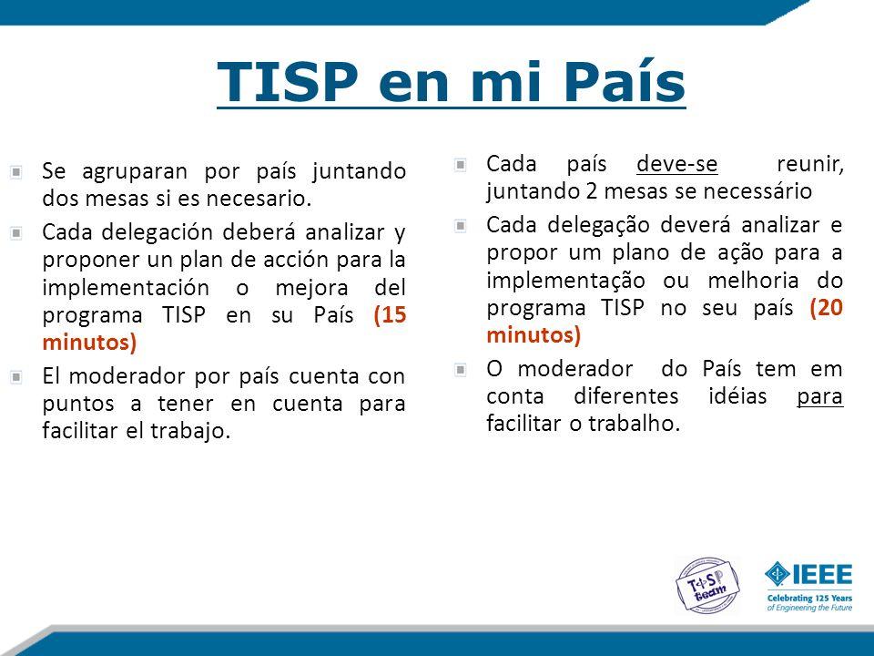 TISP en mi País Cada país deve-se reunir, juntando 2 mesas se necessário.