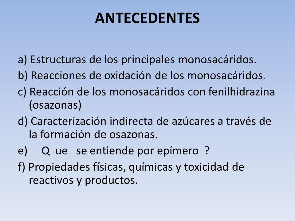 ANTECEDENTES a) Estructuras de los principales monosacáridos.