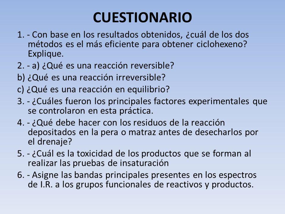 CUESTIONARIO 1. - Con base en los resultados obtenidos, ¿cuál de los dos métodos es el más eficiente para obtener ciclohexeno Explique.