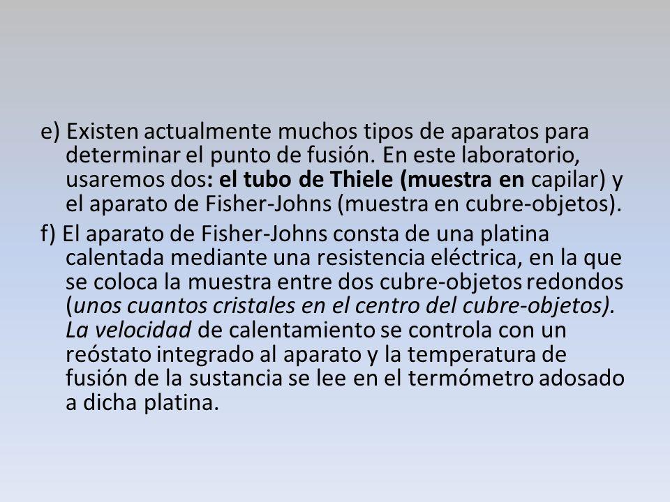 e) Existen actualmente muchos tipos de aparatos para determinar el punto de fusión. En este laboratorio, usaremos dos: el tubo de Thiele (muestra en capilar) y el aparato de Fisher-Johns (muestra en cubre-objetos).