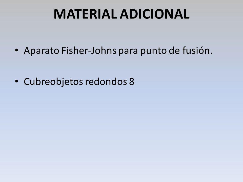 MATERIAL ADICIONAL Aparato Fisher-Johns para punto de fusión.