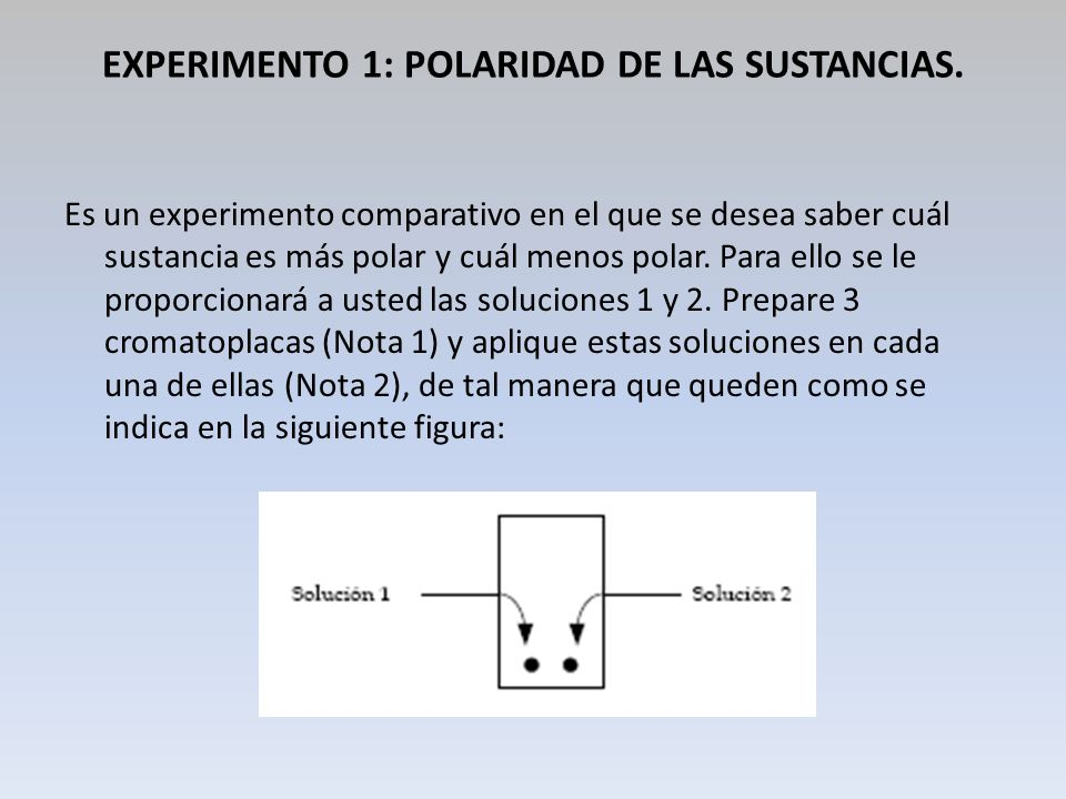 EXPERIMENTO 1: POLARIDAD DE LAS SUSTANCIAS.