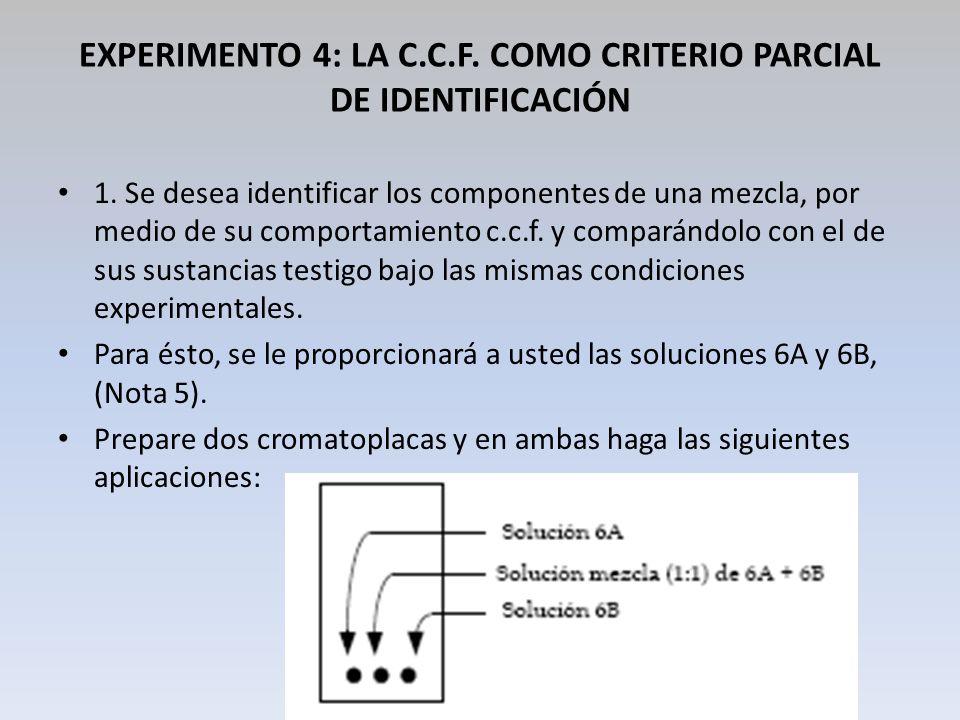 EXPERIMENTO 4: LA C.C.F. COMO CRITERIO PARCIAL DE IDENTIFICACIÓN