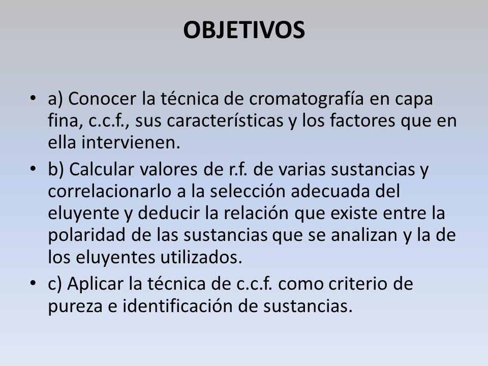 OBJETIVOS a) Conocer la técnica de cromatografía en capa fina, c.c.f., sus características y los factores que en ella intervienen.