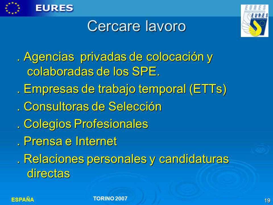 Cercare lavoro . Agencias privadas de colocación y colaboradas de los SPE. . Empresas de trabajo temporal (ETTs)