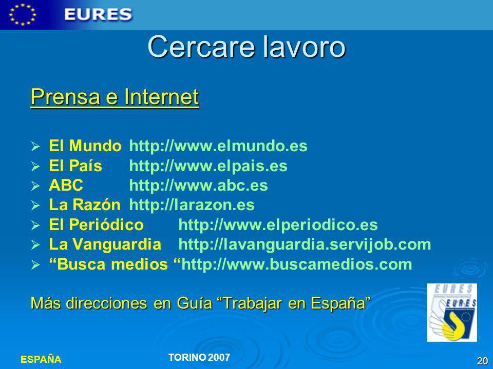 Cercare lavoro Prensa e Internet El Mundo http://www.elmundo.es