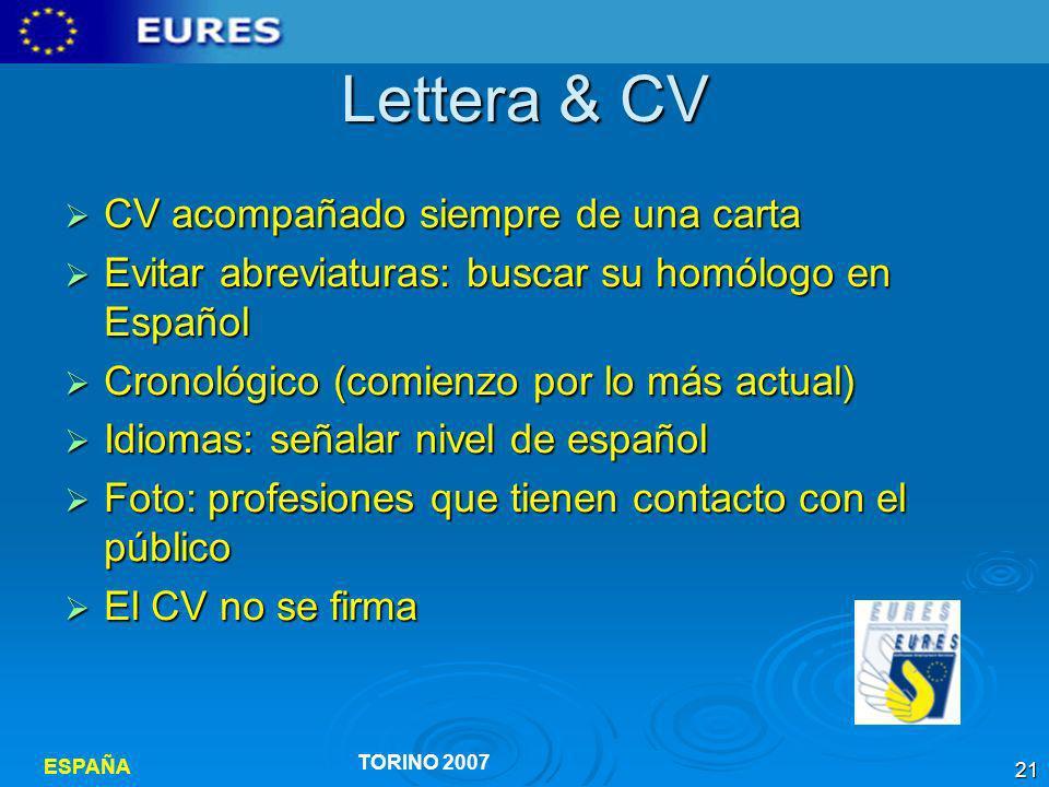 Lettera & CV CV acompañado siempre de una carta