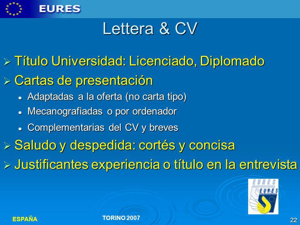 Lettera & CV Título Universidad: Licenciado, Diplomado