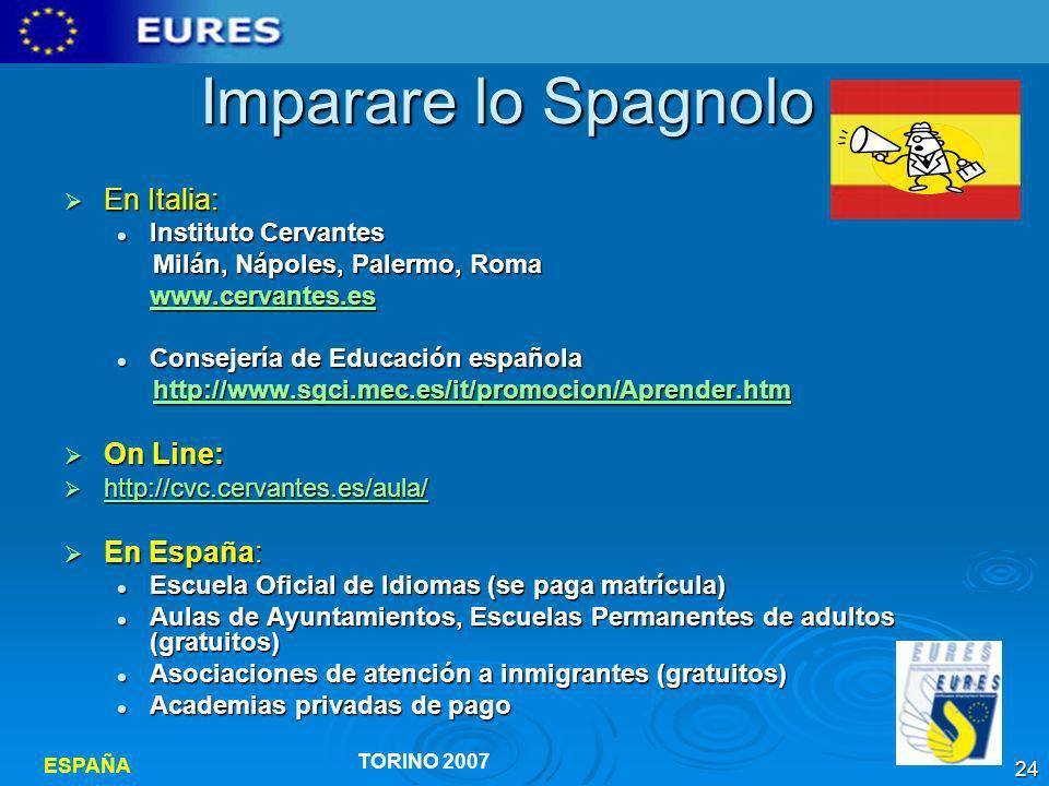 Imparare lo Spagnolo En Italia: On Line: En España: