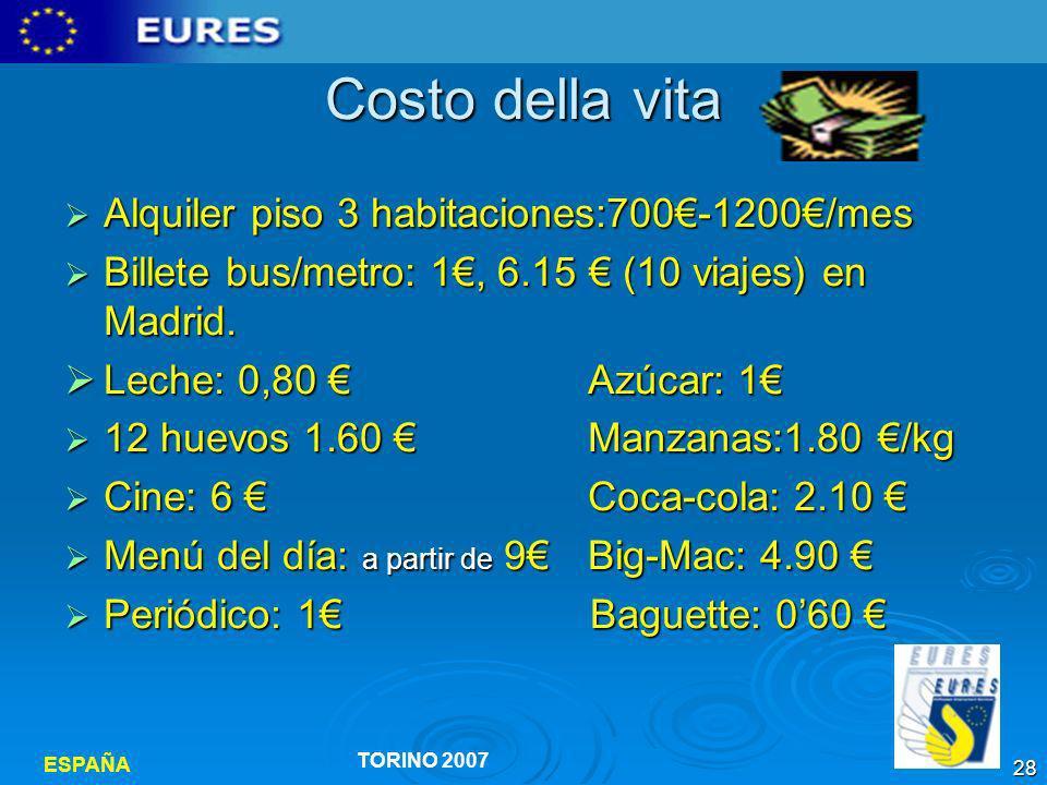 Costo della vita Alquiler piso 3 habitaciones:700€-1200€/mes