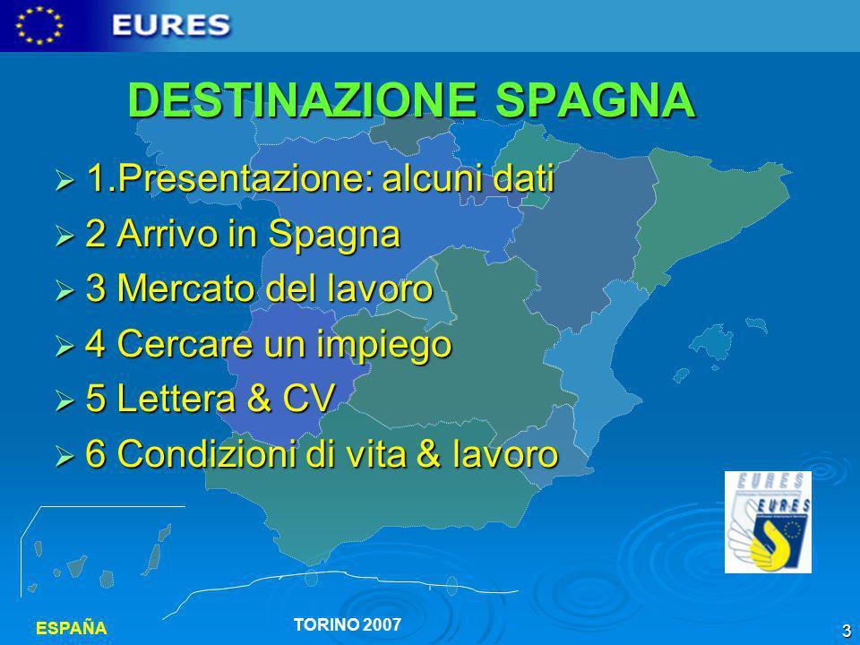 DESTINAZIONE SPAGNA 1.Presentazione: alcuni dati 2 Arrivo in Spagna