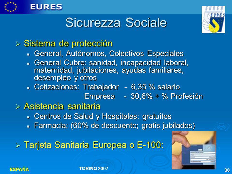 Sicurezza Sociale Sistema de protección Asistencia sanitaria