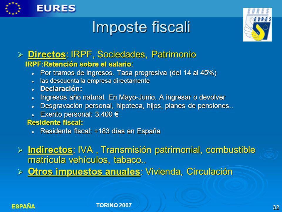 Imposte fiscali Directos: IRPF, Sociedades, Patrimonio