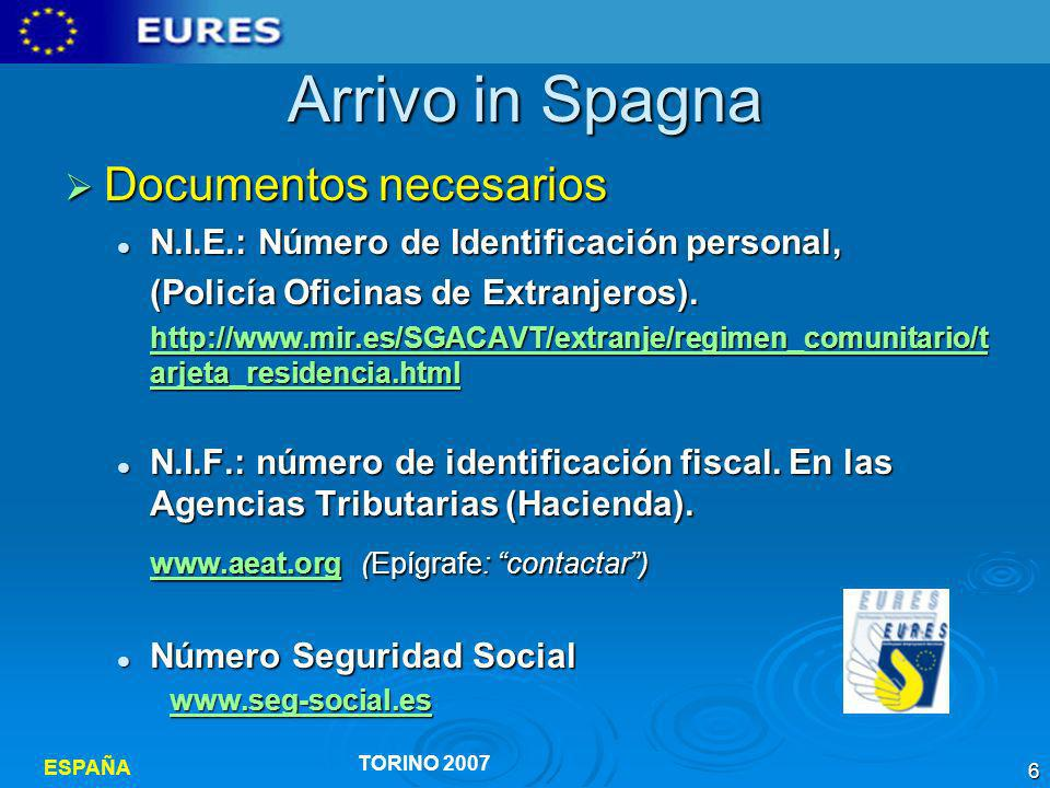 Arrivo in Spagna Documentos necesarios
