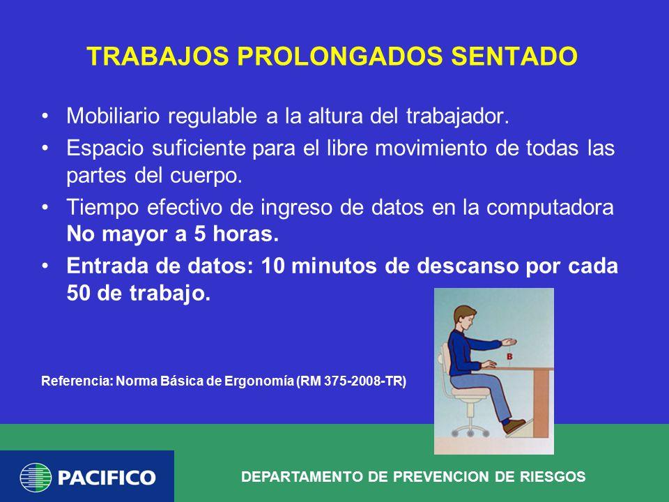 TRABAJOS PROLONGADOS SENTADO