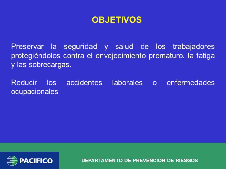 OBJETIVOS Preservar la seguridad y salud de los trabajadores protegiéndolos contra el envejecimiento prematuro, la fatiga y las sobrecargas.