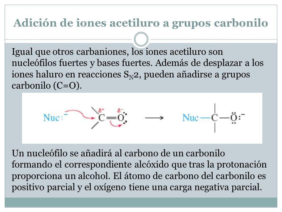 Adición de iones acetiluro a grupos carbonilo