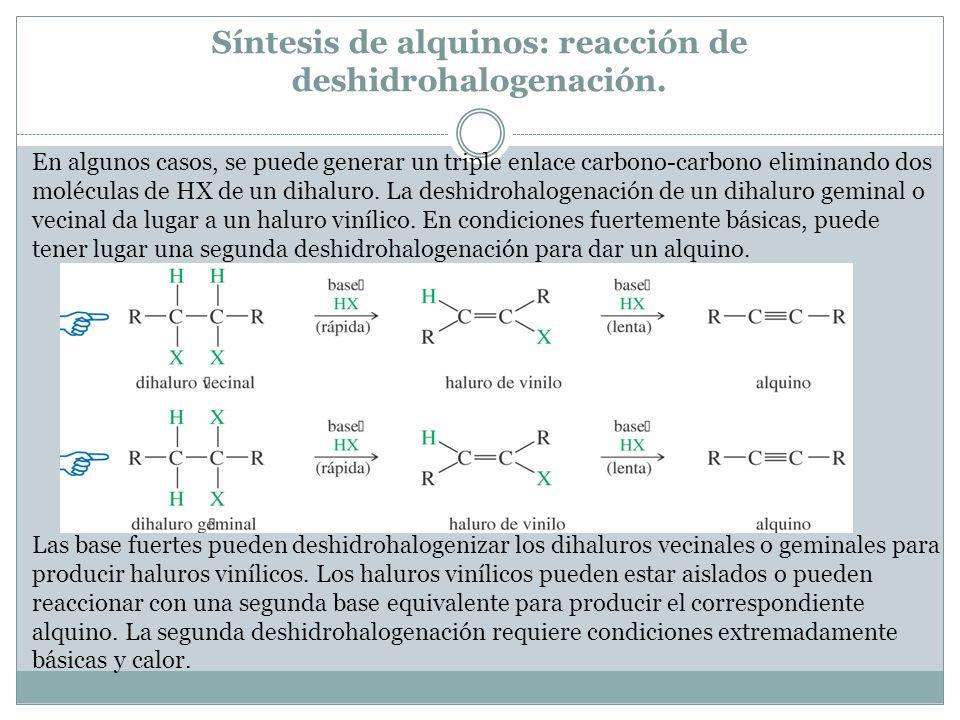 Síntesis de alquinos: reacción de deshidrohalogenación.