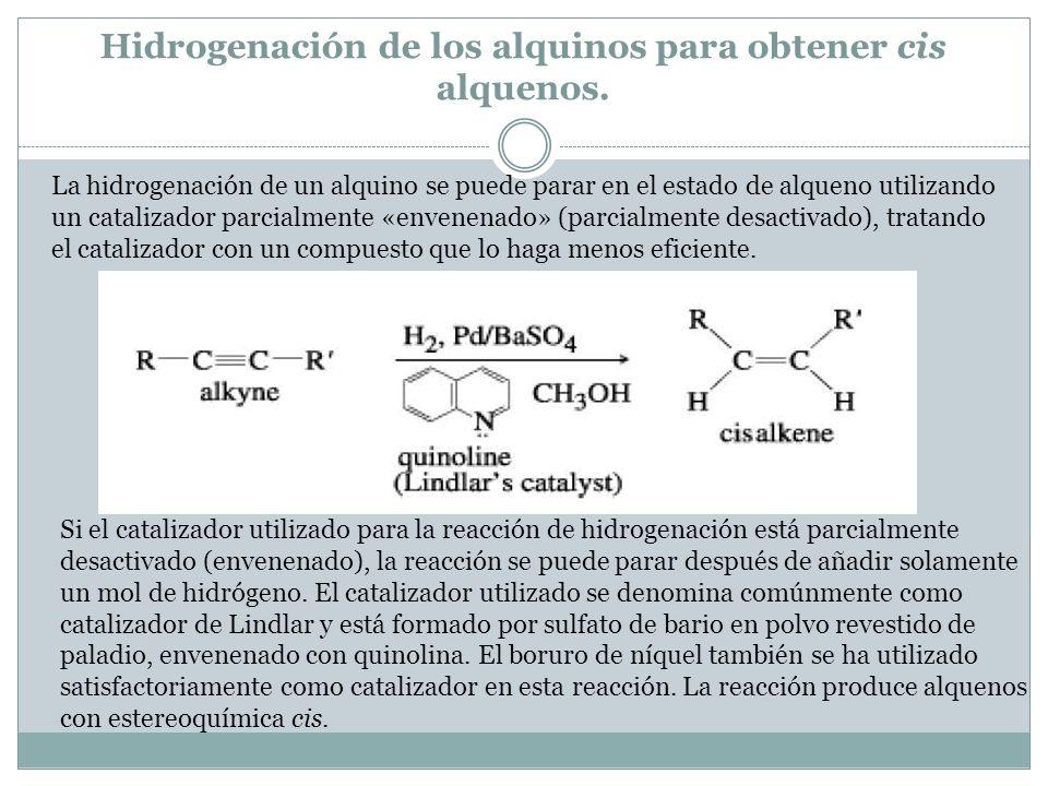 Hidrogenación de los alquinos para obtener cis alquenos.