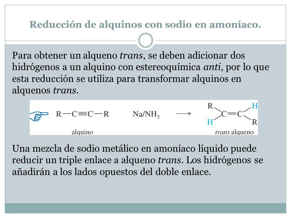 Reducción de alquinos con sodio en amoníaco.