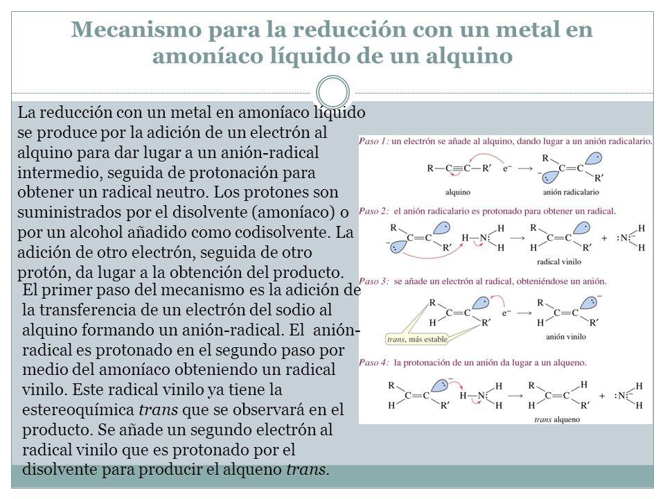 Mecanismo para la reducción con un metal en amoníaco líquido de un alquino