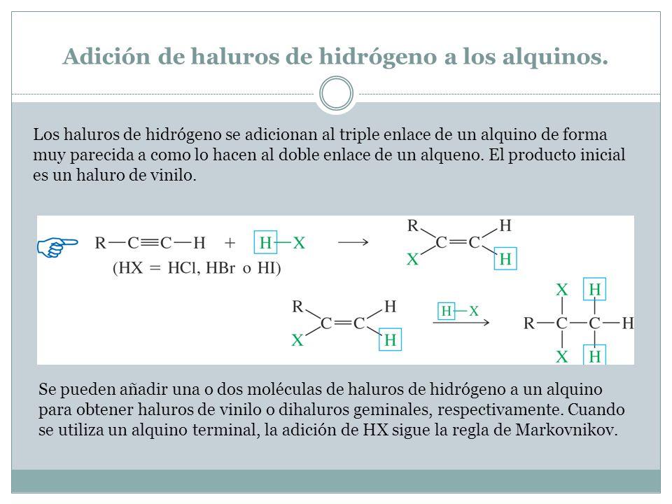 Adición de haluros de hidrógeno a los alquinos.