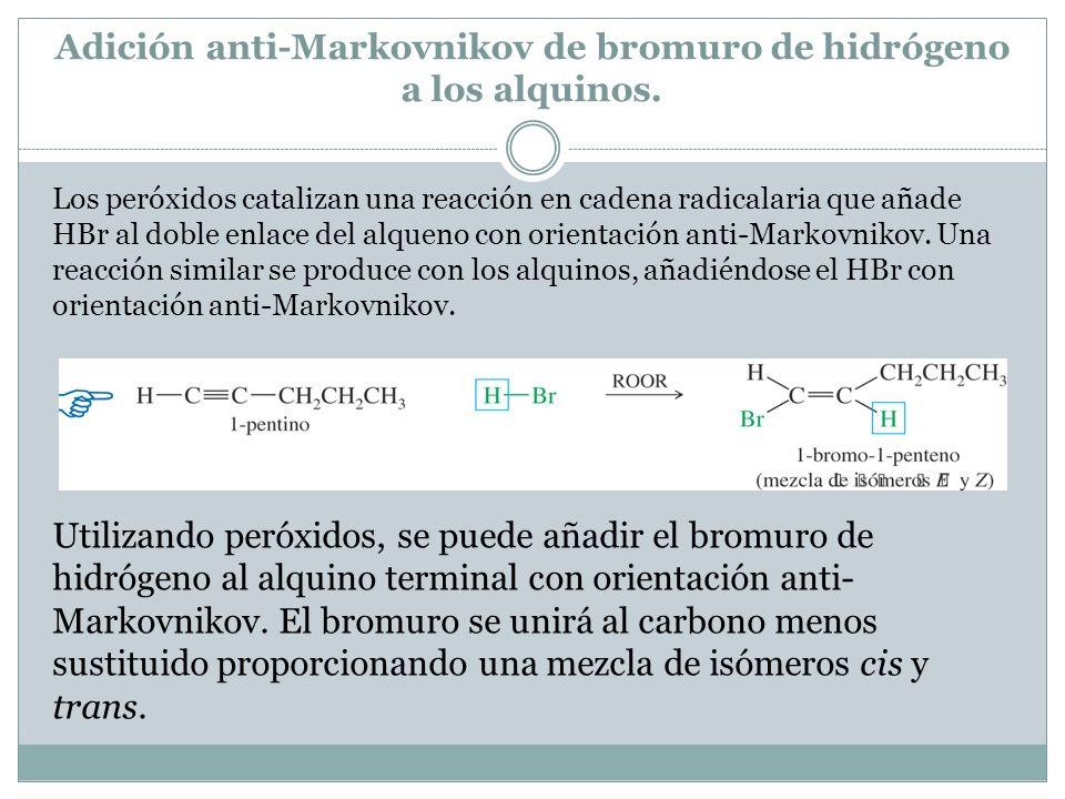 Adición anti-Markovnikov de bromuro de hidrógeno a los alquinos.