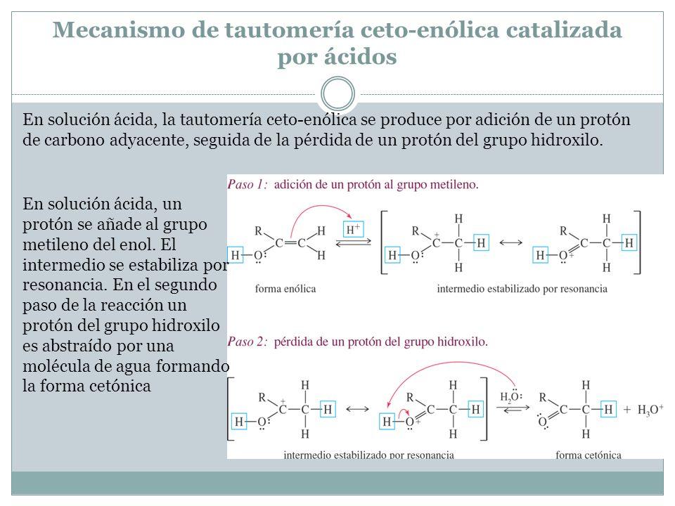 Mecanismo de tautomería ceto-enólica catalizada por ácidos