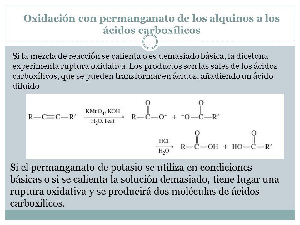 Oxidación con permanganato de los alquinos a los ácidos carboxílicos