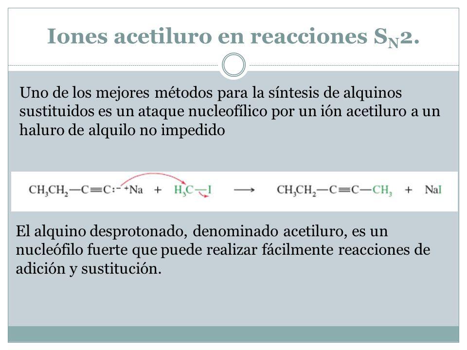 Iones acetiluro en reacciones SN2.