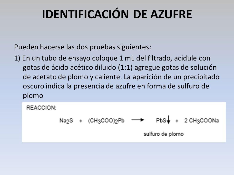 IDENTIFICACIÓN DE AZUFRE