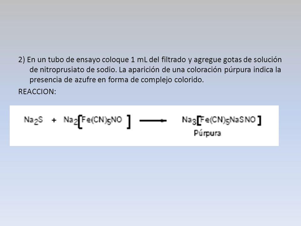 2) En un tubo de ensayo coloque 1 mL del filtrado y agregue gotas de solución de nitroprusiato de sodio. La aparición de una coloración púrpura indica la presencia de azufre en forma de complejo colorido.