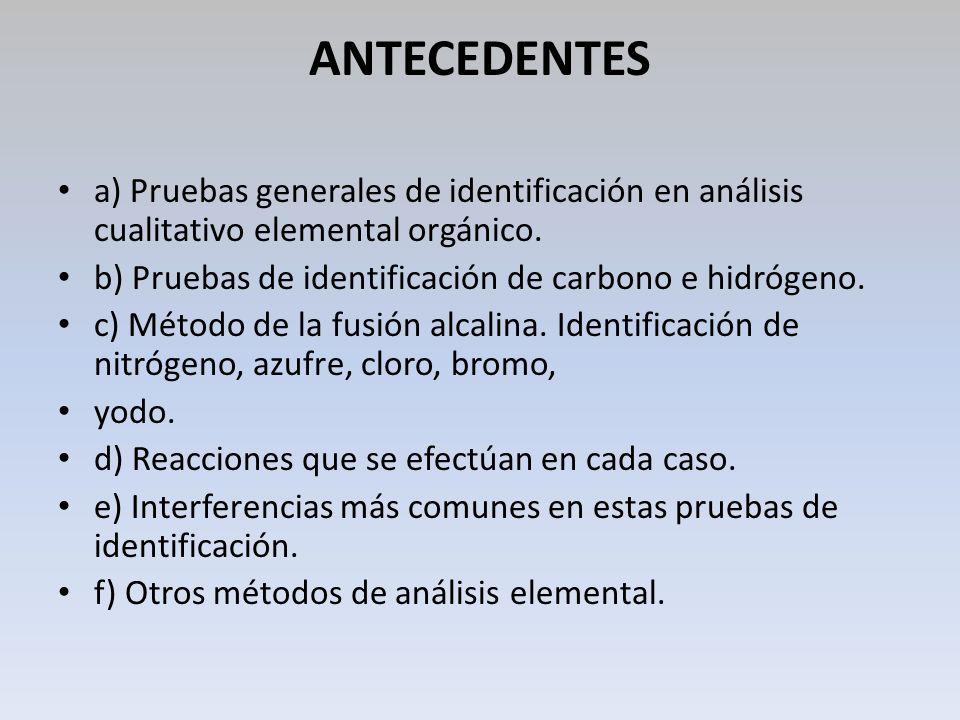 ANTECEDENTES a) Pruebas generales de identificación en análisis cualitativo elemental orgánico. b) Pruebas de identificación de carbono e hidrógeno.