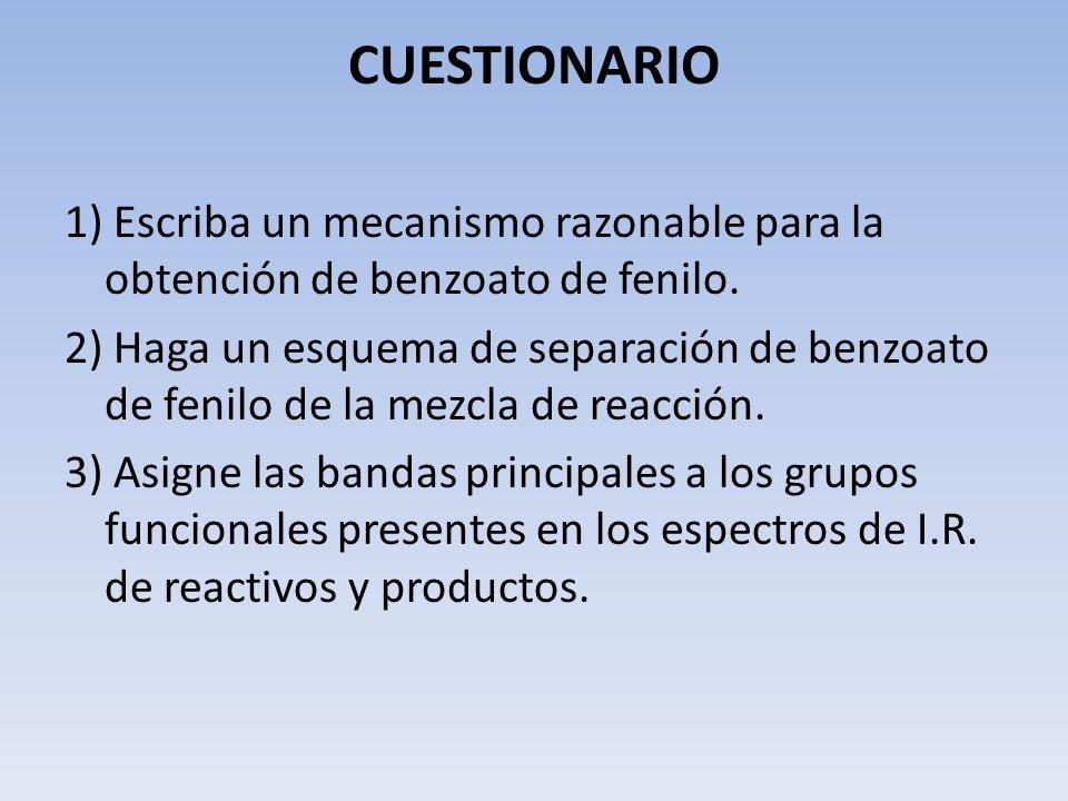 CUESTIONARIO1) Escriba un mecanismo razonable para la obtención de benzoato de fenilo.