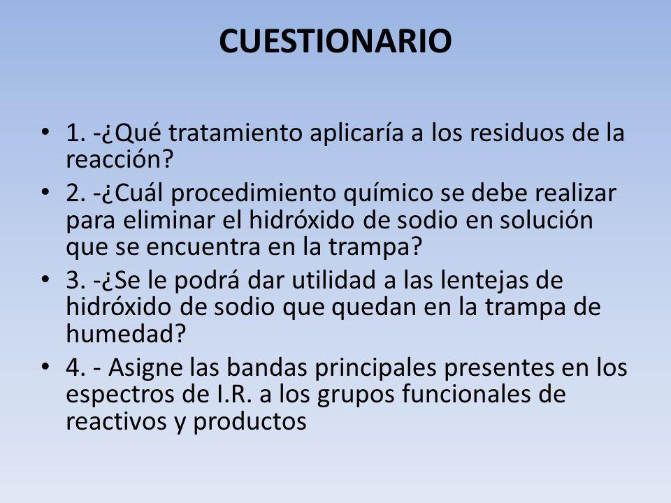 CUESTIONARIO 1. -¿Qué tratamiento aplicaría a los residuos de la reacción