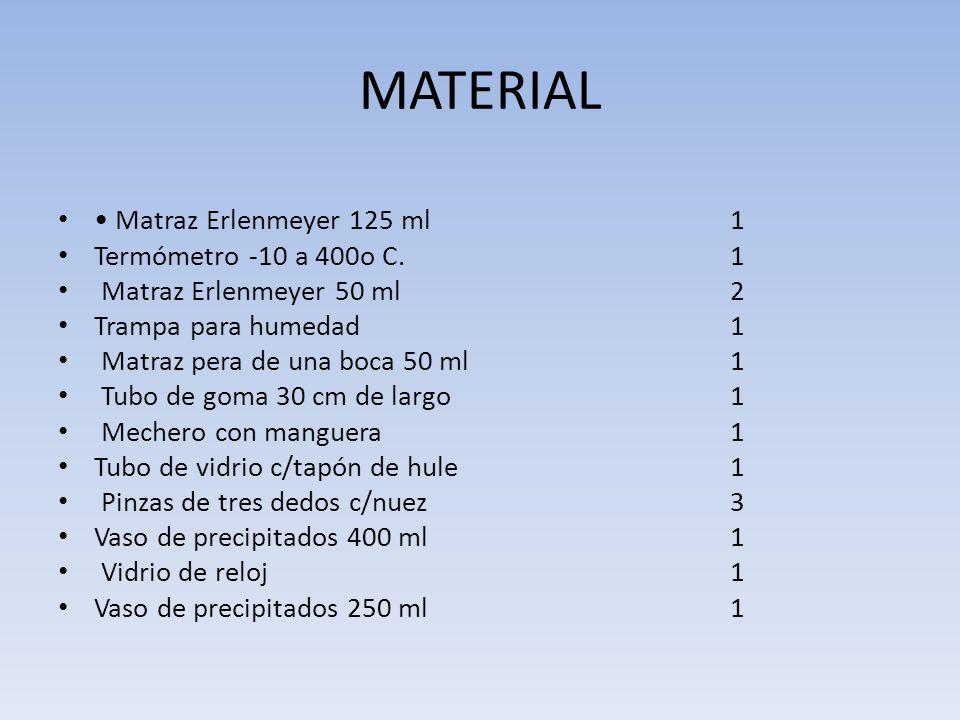 MATERIAL • Matraz Erlenmeyer 125 ml 1 Termómetro -10 a 400o C. 1