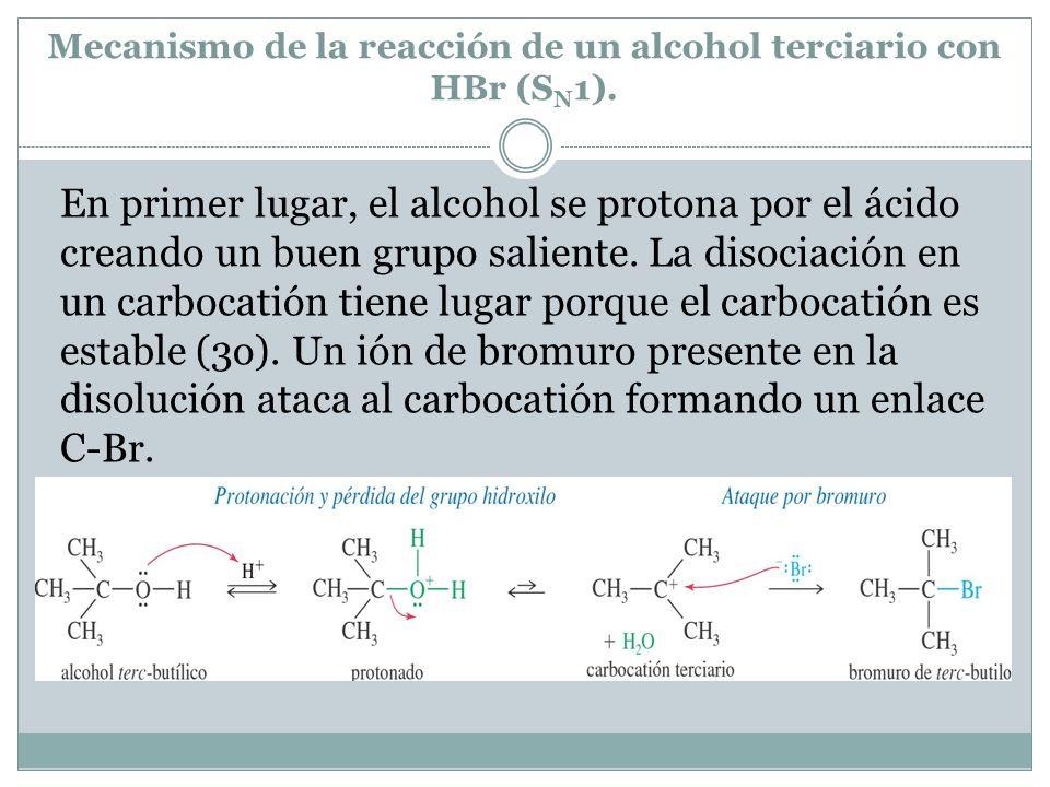 Mecanismo de la reacción de un alcohol terciario con HBr (SN1).
