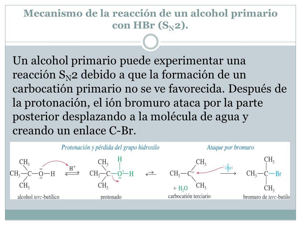 Mecanismo de la reacción de un alcohol primario con HBr (SN2).