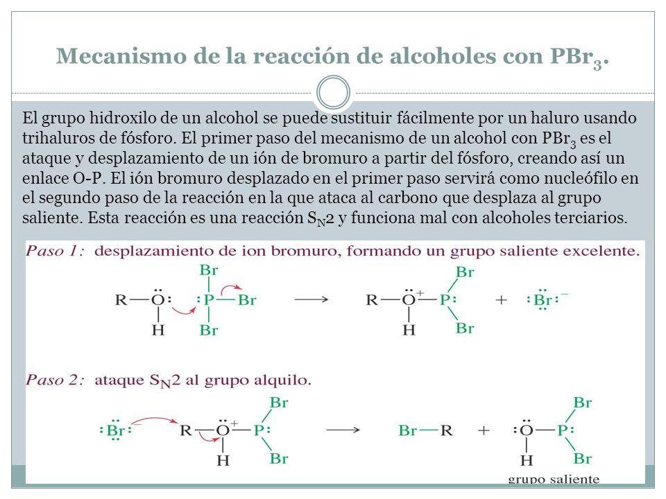 Mecanismo de la reacción de alcoholes con PBr3.