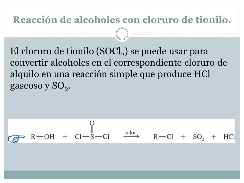 Reacción de alcoholes con cloruro de tionilo.