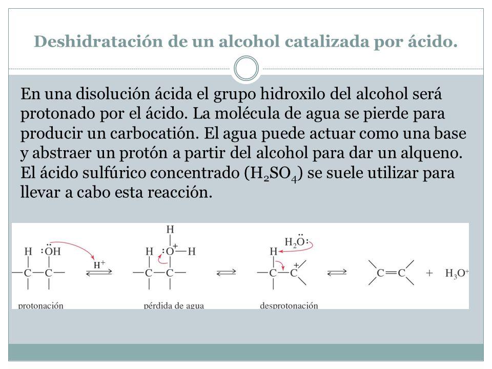 Deshidratación de un alcohol catalizada por ácido.