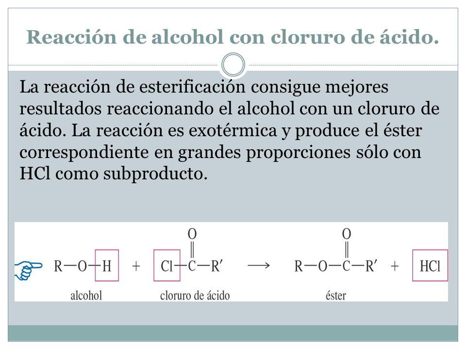 Reacción de alcohol con cloruro de ácido.