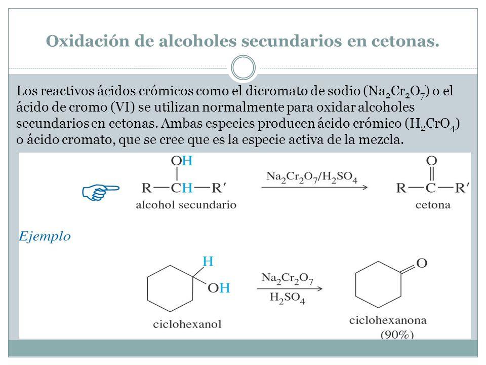 Oxidación de alcoholes secundarios en cetonas.