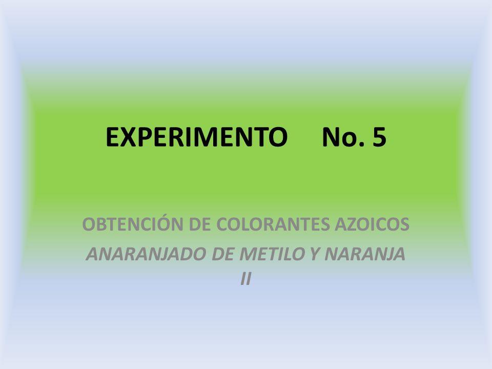 OBTENCIÓN DE COLORANTES AZOICOS ANARANJADO DE METILO Y NARANJA II